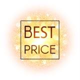 Beste prijsbanner op abstracte explosieachtergrond met gouden schitterende elementen Uitbarsting van gloeiende ster Stofvuurwerk Stock Afbeelding