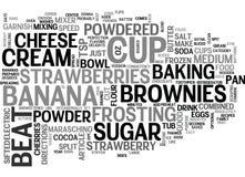 Beste Rezept-Banana- splitschokoladenkuchen-Wort-Wolke Stockfotos