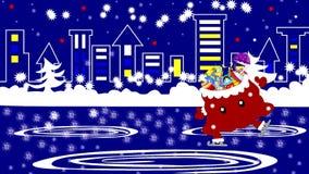 Beste Santa Claus met giften in de dozen en de vrolijke zak schaatst in de stad, stock illustratie