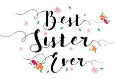 Beste Schwester Ever Flower Card vektor abbildung