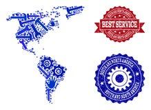 Beste Service-Collage der Karte des Südens und des Nordamerikas und der verkratzten Wasserzeichen lizenzfreie abbildung