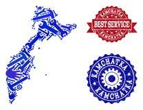Beste Service-Collage der Karte der Halbinsel Kamtschatka-und Schmutz-Wasserzeichen stock abbildung