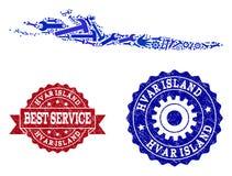 Beste Service-Collage der Karte der Insel-und Schmutz-Stempel Hvar stock abbildung