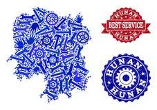 Beste Service-Collage der Karte der Provinz Hunan-und Schmutz-Wasserzeichen vektor abbildung