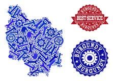 Beste Service-Collage der Karte von Burgunder-Provinz und von verkratzten Dichtungen vektor abbildung