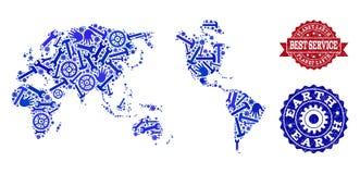 Beste Service-Collage der Karte von Erde und von Gummiwasserzeichen vektor abbildung
