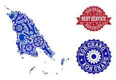 Beste Service-Collage der Karte von Koh Chang und von verkratzten Stempeln stock abbildung