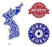 Beste Service-Collage der Karte von Korea- und Bedrängnis-Wasserzeichen stock abbildung