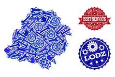 Beste Service-Collage der Karte von Lodz-Provinz und von strukturierten Wasserzeichen lizenzfreie abbildung