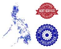 Beste Service-Collage der Karte von Philippinen und von Stempeln lizenzfreie abbildung