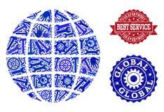 Beste Service-Collage von Kugel-und Bedrängnis-Stempeln stock abbildung