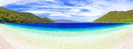 Beste Strände von Bucht Kefalonia - Antisamos, ionische Inseln von Griechenland lizenzfreies stockbild