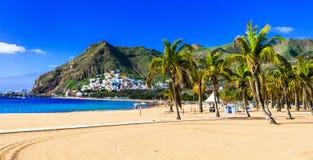 Beste Strände von Teneriffa, Playa de Las Teresitas, Spanien stockfotos