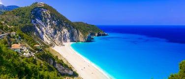 Beste stranden van Lefkada - indrukwekkende Milos Griekenland stock fotografie