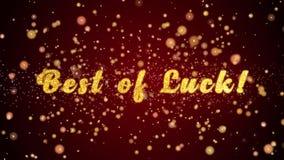 Beste van geluk! de tekst glanzende deeltjes van de groetkaart voor viering, festival stock illustratie