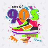 Beste van jaren '90illistration met uitstekende schoenenachtergrond Stock Afbeelding