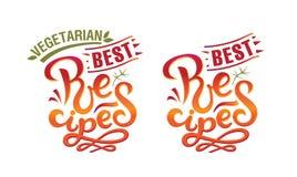 Beste vegetarische Rezepte und beste Rezepte unterzeichnen, Logo, Emblem Auch im corel abgehobenen Betrag stockfoto