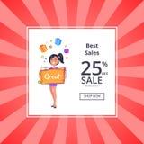 Beste Verkoop de Bon van de de Winkelkorting van de 25 Percentenverkoop Royalty-vrije Stock Afbeelding