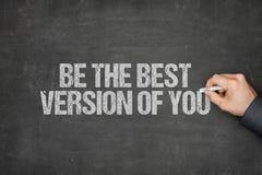 Beste Version Geschäftsmann-Writing Be Thes von Ihnen auf Tafel Stockfotografie