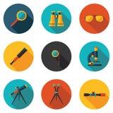 Beste vlakke pictogrammen optische apparaten Stock Afbeeldingen