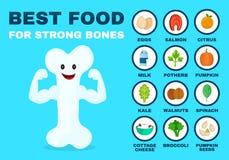 Beste voedsel voor sterke beenderen Sterke gezond royalty-vrije illustratie