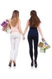 Beste vrienden die afte winkelen Royalty-vrije Stock Afbeeldingen