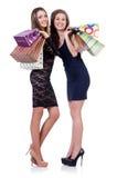 Beste vrienden die afte winkelen Royalty-vrije Stock Foto