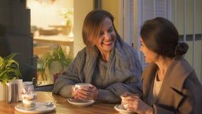 Beste vrienden die kindgeheugen in koffie, het lachen en het drinken hete koffie delen stock footage