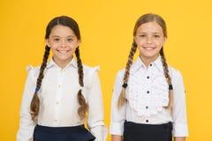 Beste Vrienden jong geitje formele manier Onderwijs het slimme kijken kinderen Schoolvrienden gelukkige kinderen in eenvormig wei royalty-vrije stock afbeeldingen