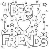 Beste Vrienden Kleurende pagina Vector illustratie Royalty-vrije Stock Fotografie