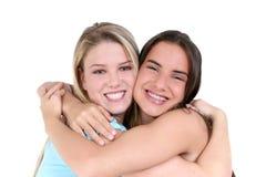 Beste Vrienden over Wit Stock Foto