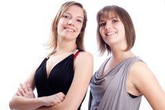 Beste vrienden samen op een witte achtergrond. Stock Foto