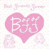 Beste Vrienden voor altijd Hand het van letters voorzien citaat, BFF-brieven in vorm van hart, leuke illustratie op een creatieve stock illustratie
