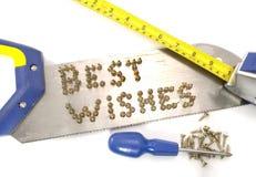 Beste Wünsche geschrieben in Nägel auf eine Säge Stockbilder