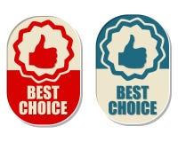 Beste Wahl und Daumen herauf Zeichen, zwei elliptische Aufkleber Stockfotografie