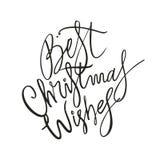 Beste Weihnachtswunsch-beschriftungsphrase Feiertagsbuchstabe-Tintenillustration Stockbilder