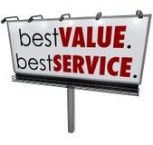 Beste Wert-Service-Anschlagtafel-Zeichen-Spitzen-auserlesene Werbung lizenzfreie abbildung
