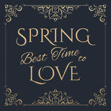 Beste Zeit des Frühlinges, goldene Beschriftung zu lieben Lizenzfreie Stockfotos