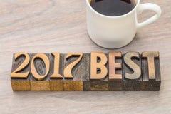 beste Zusammenfassung des Wortes 2017 in der Weinleseholzart Stockbild