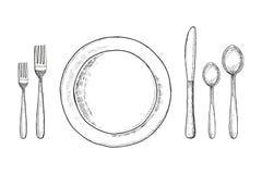 Bestek voor lijstschets Lepelmes en vork, een plaat Vector illustratie Royalty-vrije Stock Fotografie