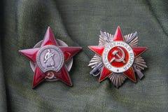 Bestellung des roten Sternes, Bestellung des patriotischen Krieges Lizenzfreies Stockfoto
