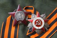 Bestellung des roten Sternes, Bestellung des patriotischen Krieges Lizenzfreie Stockfotos