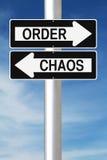 Bestellung gegen Chaos Stockfotos