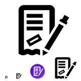 Bestellungs- oder Rechnungsikone Vektorlinie Ikone mit mit dem Bild eines Bleistifts, des Textes und des Stempels Lizenzfreies Stockfoto