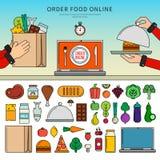Bestellungslebensmittel on-line Stockbild