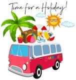 Bestelwagen met de zomerpunt en uitdrukkingstijd voor vakantie vector illustratie