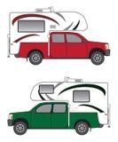 Bestelwagen met Kampeerauto royalty-vrije illustratie