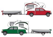 Bestelwagen met Kampeerauto die Boot trekken vector illustratie