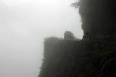 Bestelwagen op doodsweg, Bolivië Stock Fotografie