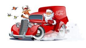 Bestelwagen van beeldverhaal retro Kerstmis op witte achtergrond wordt geïsoleerd die vector illustratie